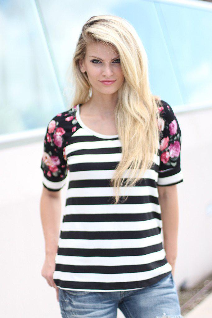 Black And White Striped Top With Floral Sleeves