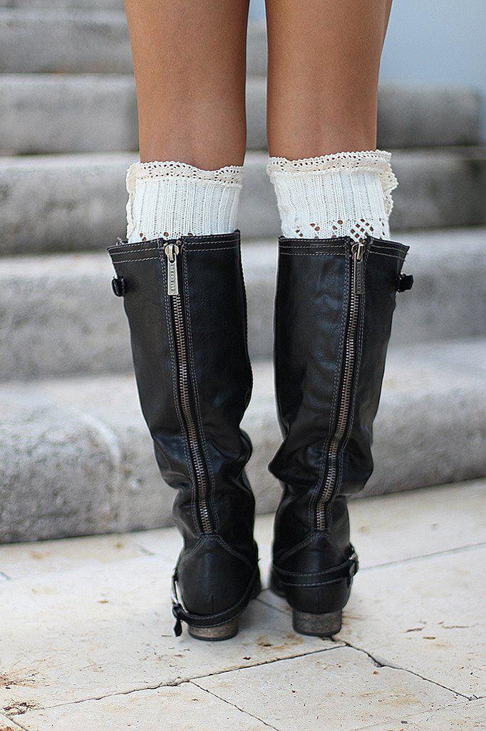 black faux leather boots