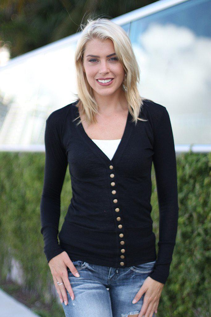 Black Button Down Cardigan