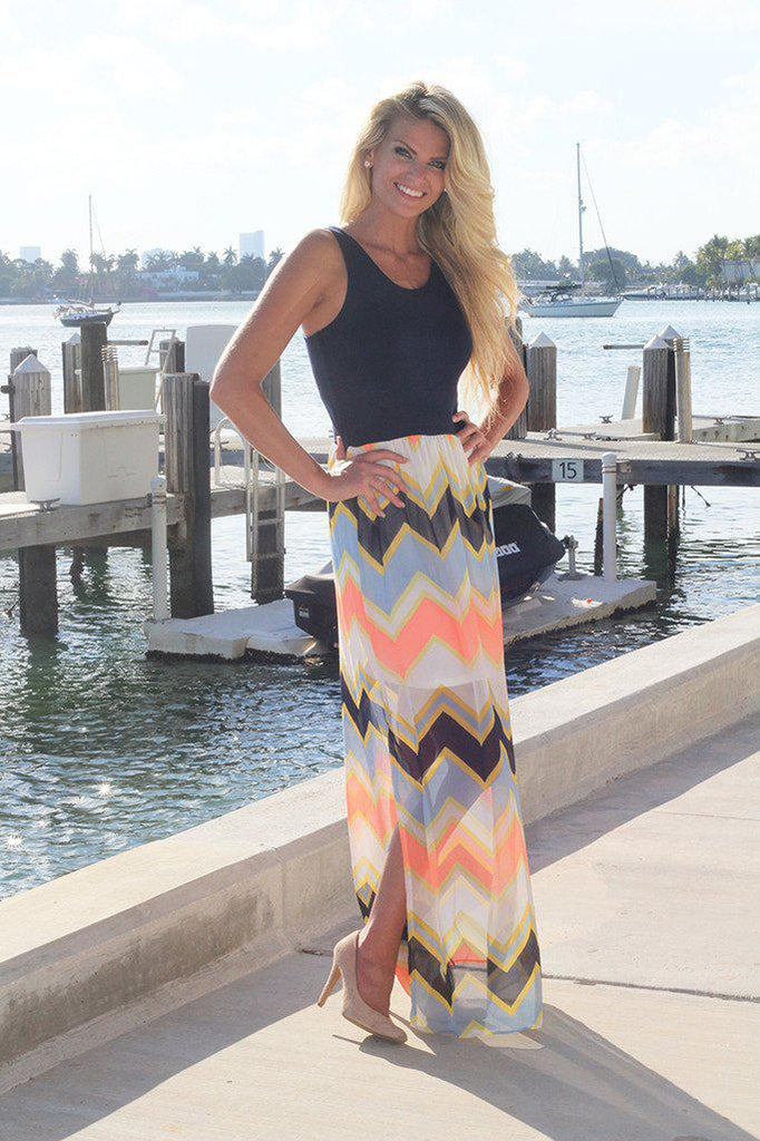 Navy and Neon Peach Chevron Maxi Dress