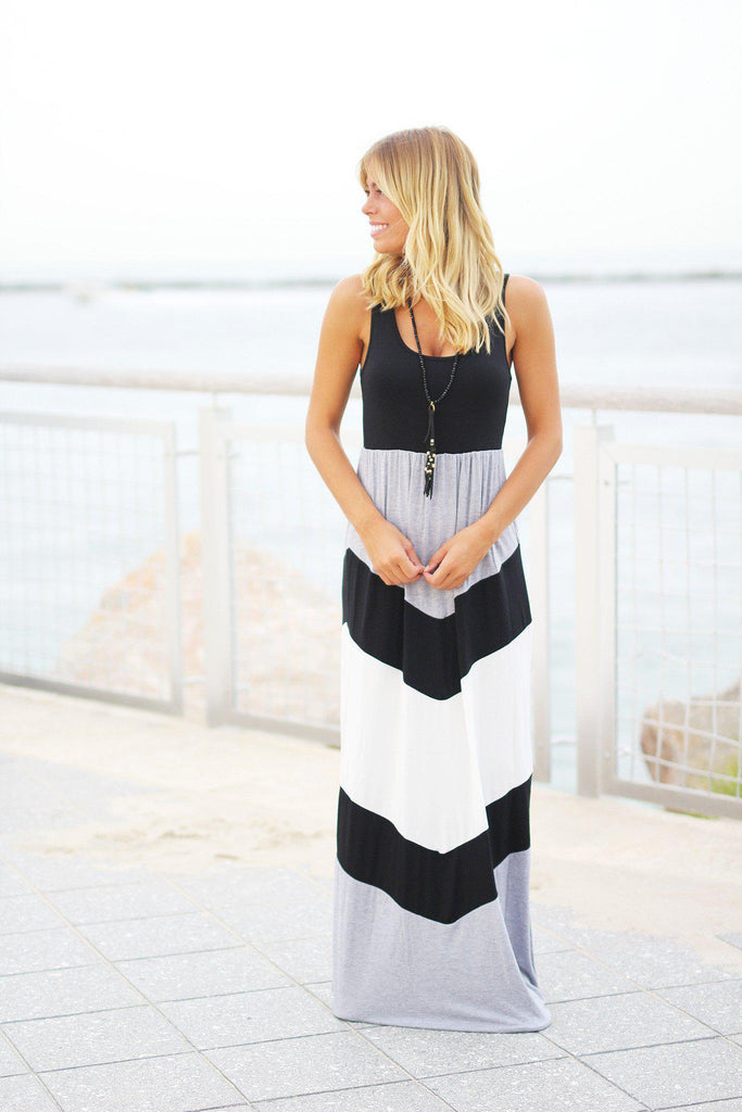 chevron sleeveless maxi dress