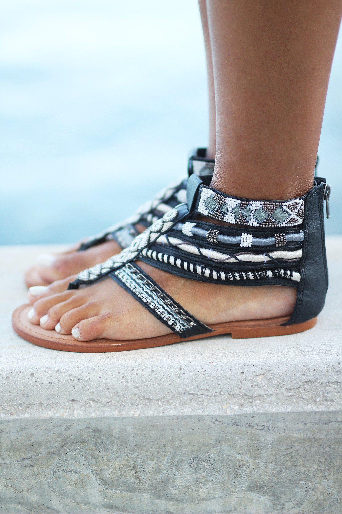 Foo Sah Black Sandals
