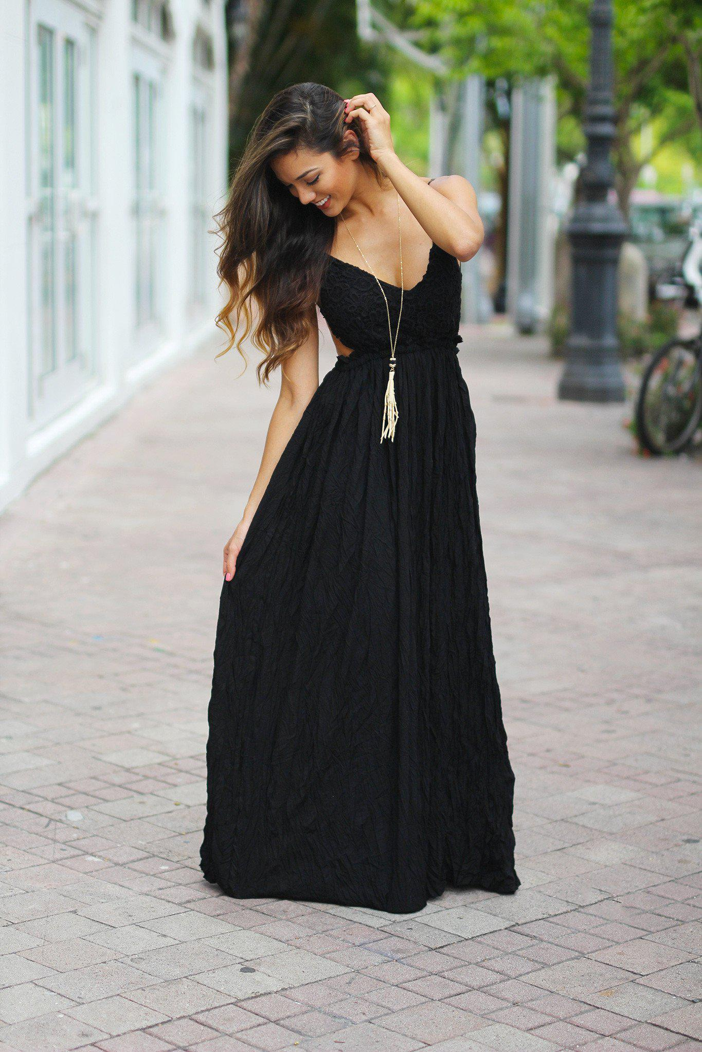 Black Lace Maxi Dress with Open Back | Evening Gown – Saved by the ...