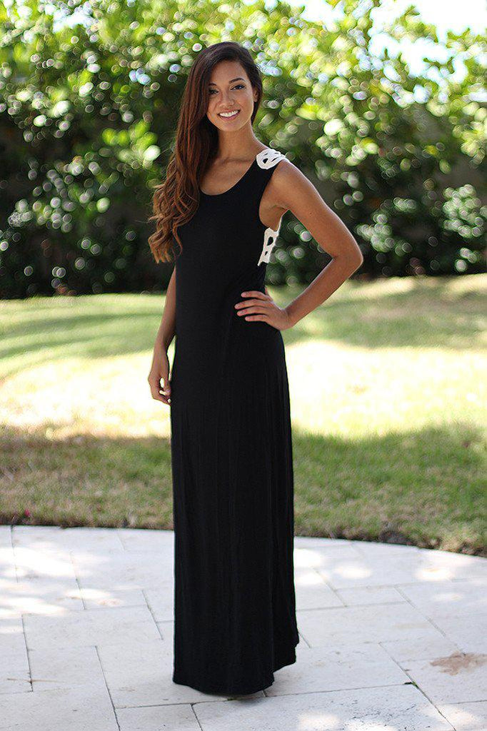 Black Maxi Dress With Crochet Back