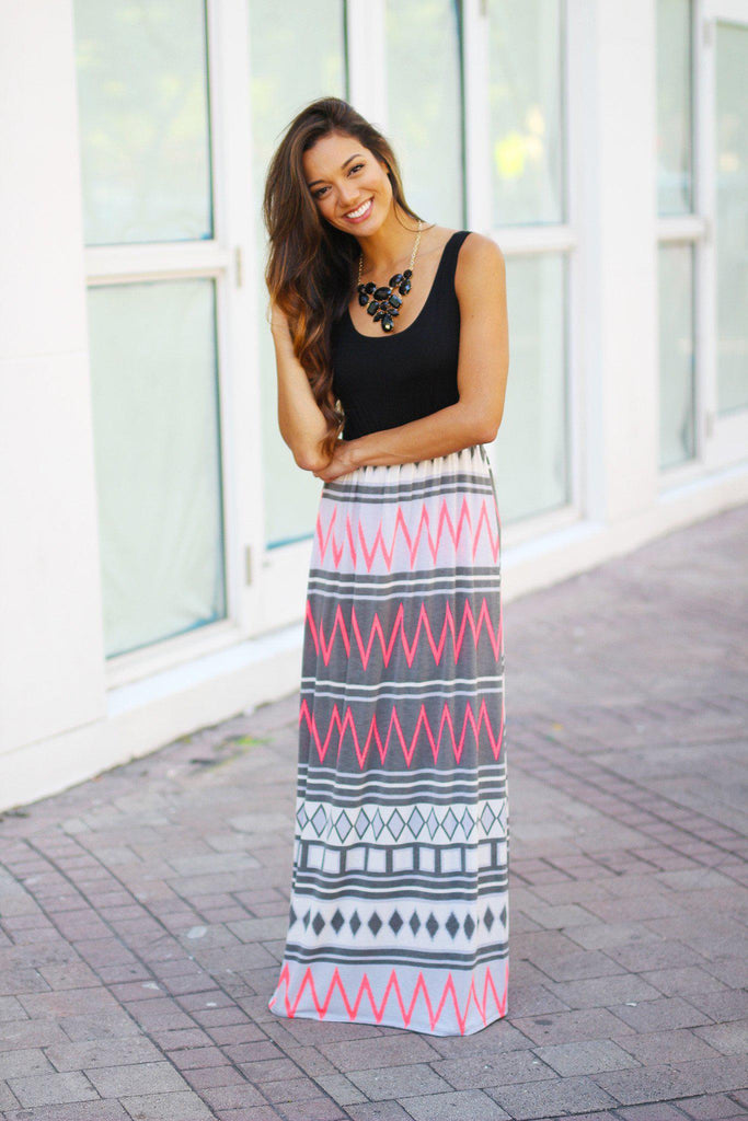 multi color chevron long dress