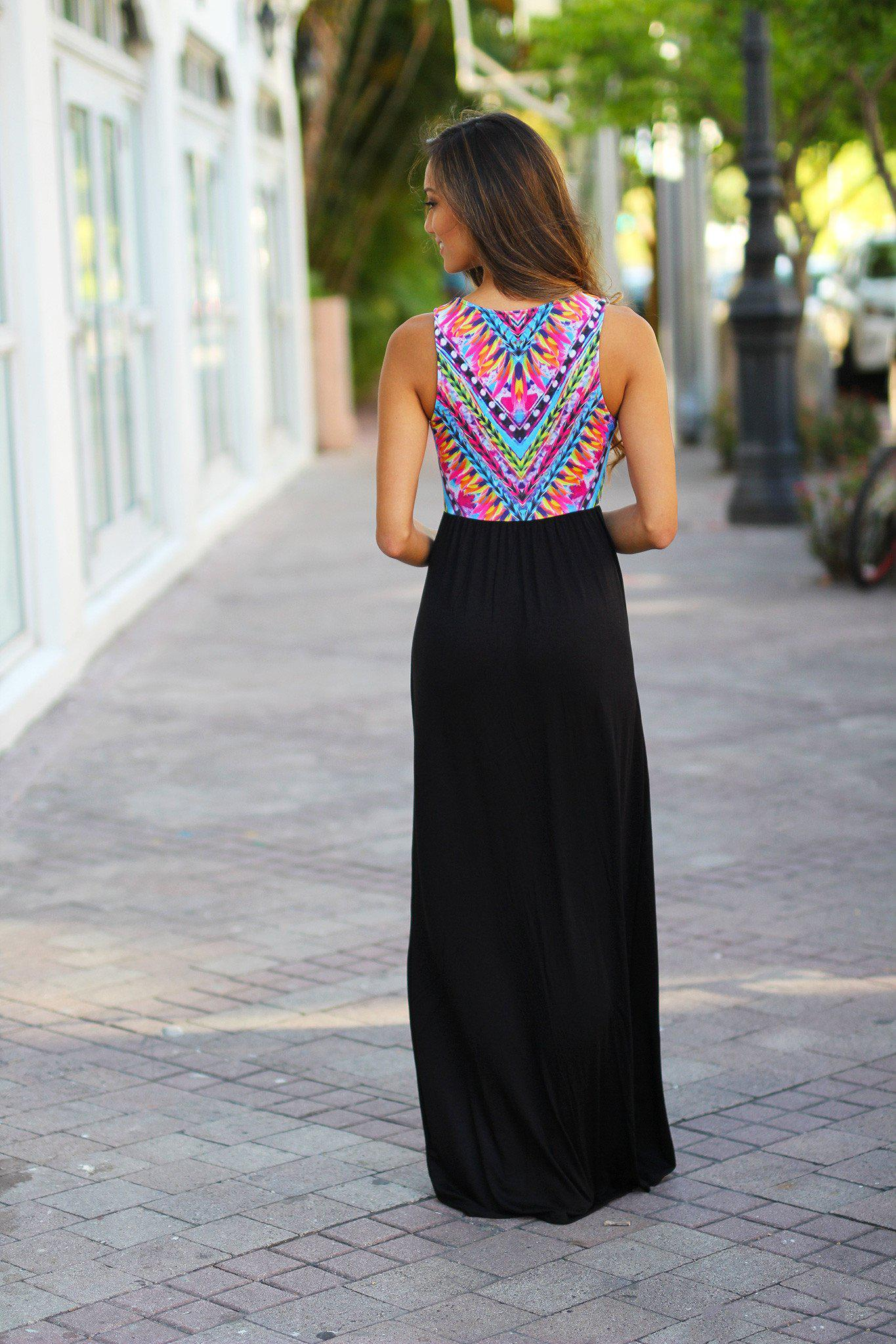 Black Maxi Dress with Printed Top