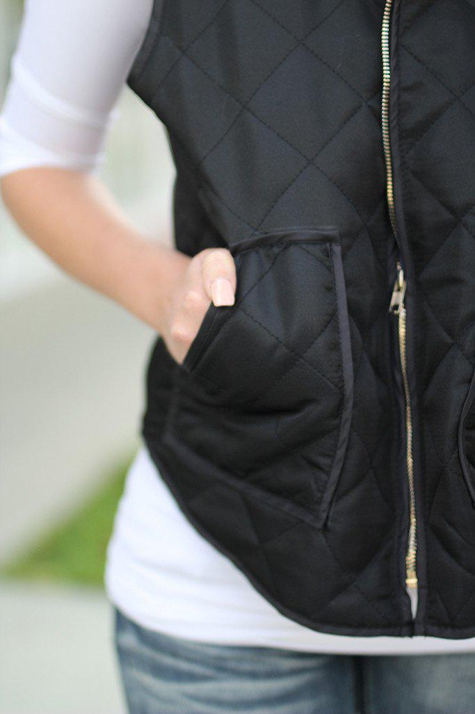 Black Padded Vest with Pockets