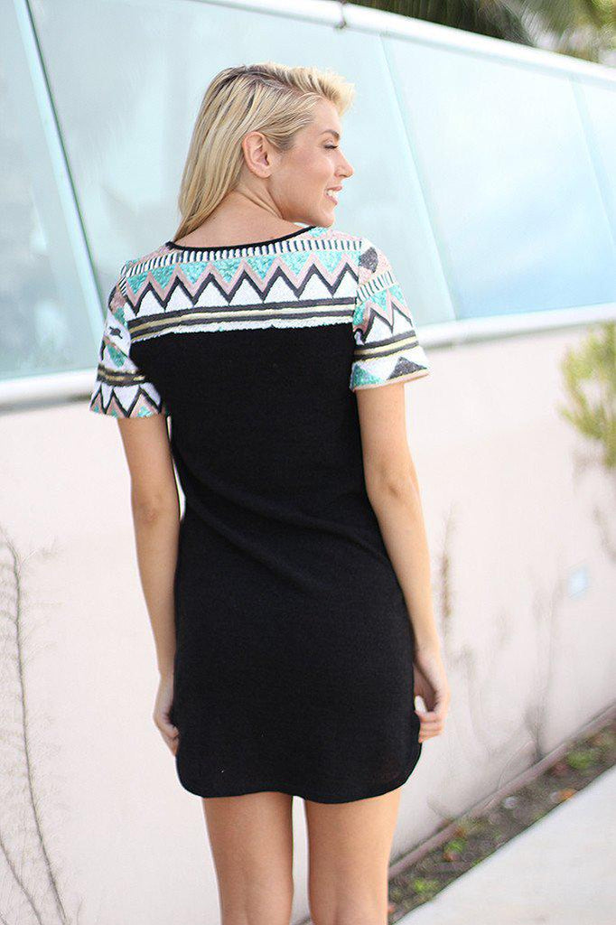 Black Sequin Tunic Dress