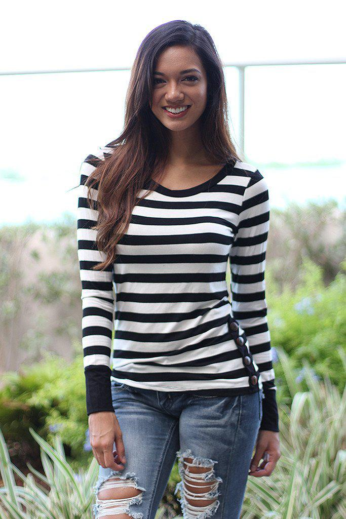 Black Striped Top With Buttons