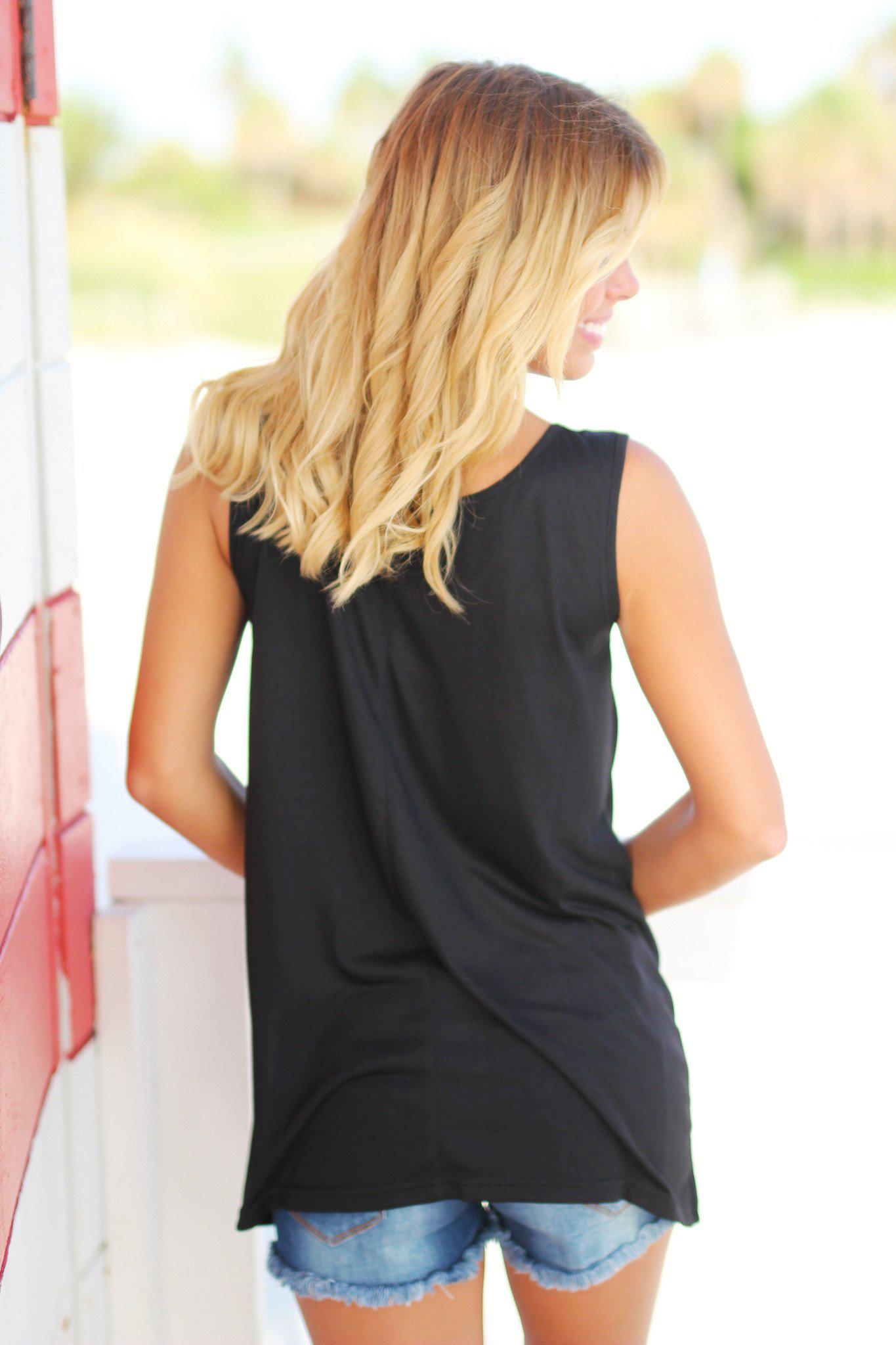Black Sequin Tank Top