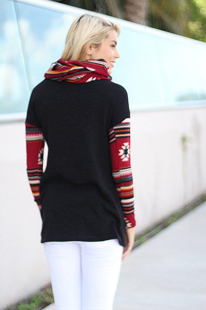 Black Top With Aztec Sleeves