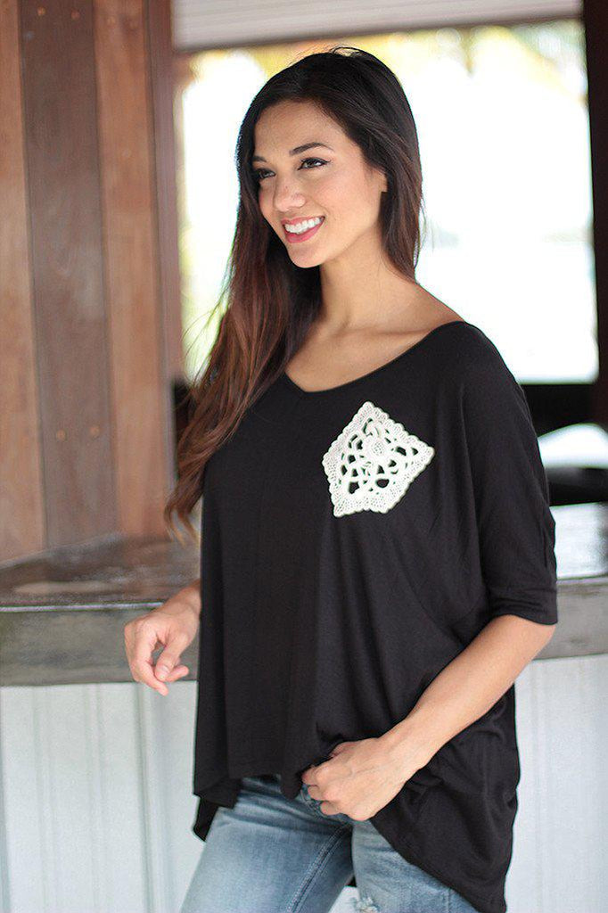 Black Top With Crochet Pocket