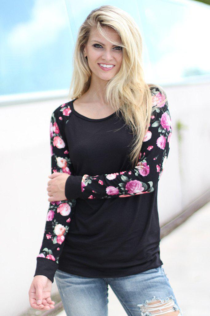 Black Top with Floral Sleeves