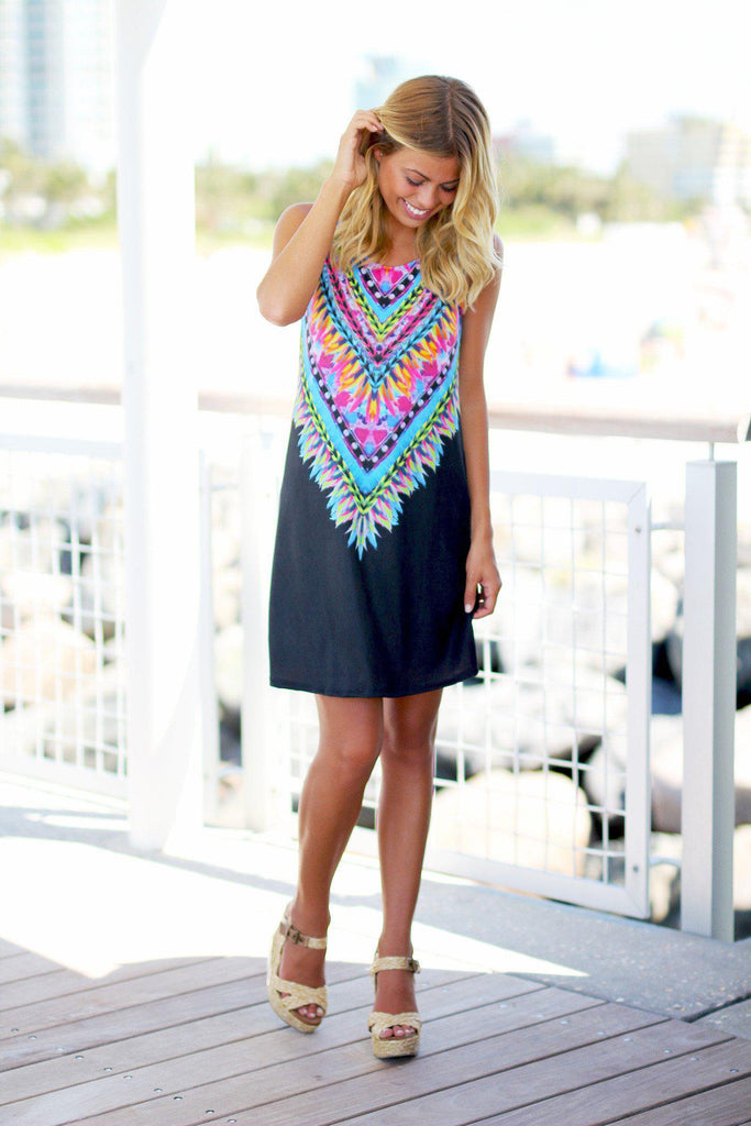 black tribal sleeveless dress