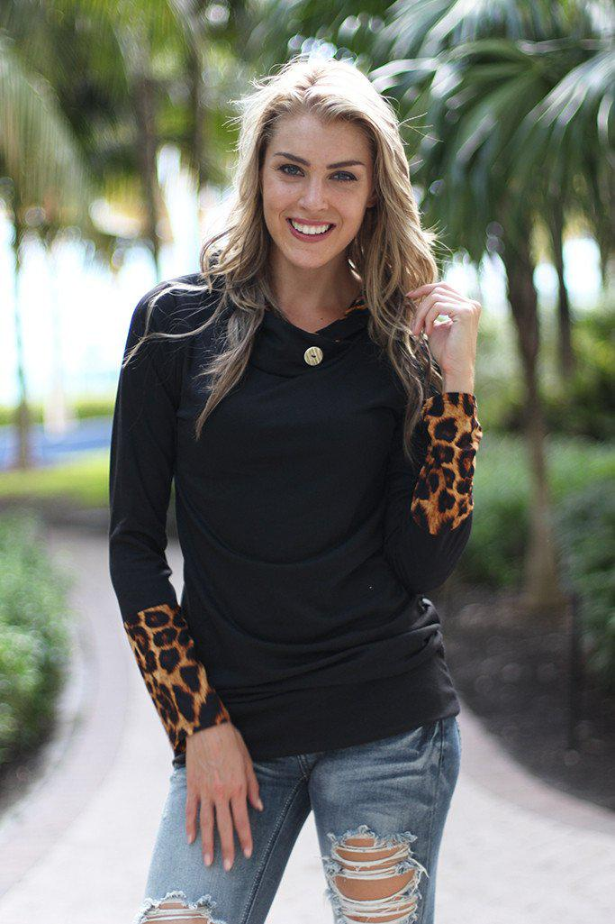 Black Tunic With Leopard Hood