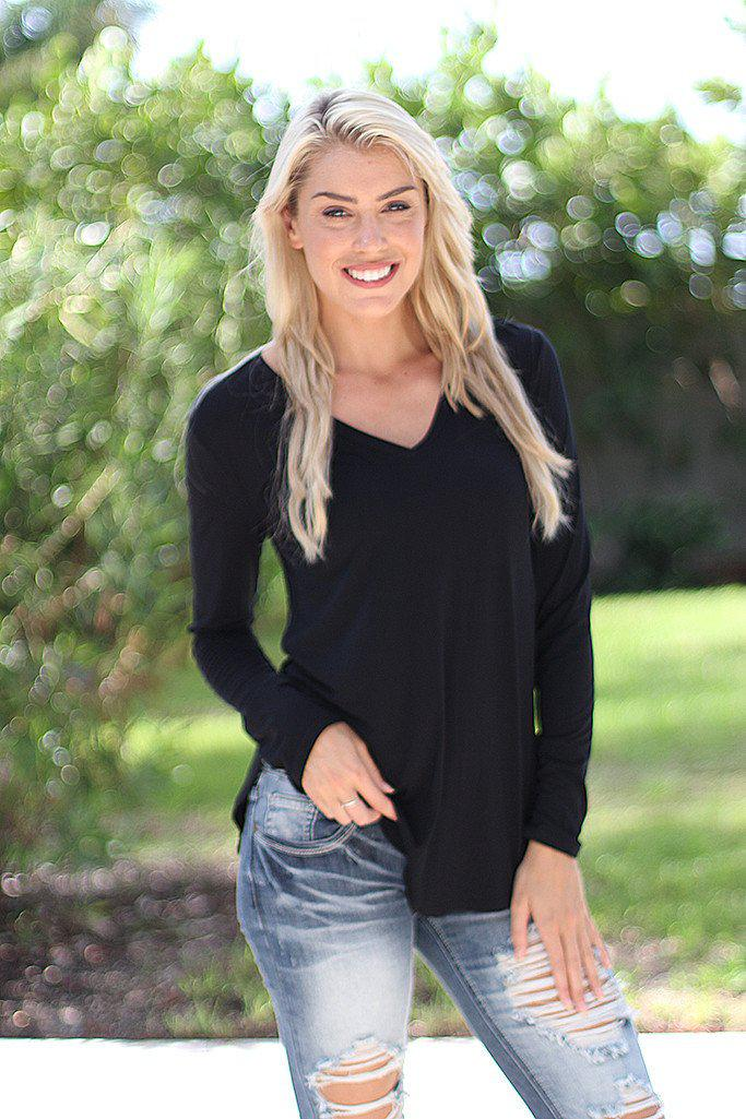 Black V-Neck Top With Long Sleeves