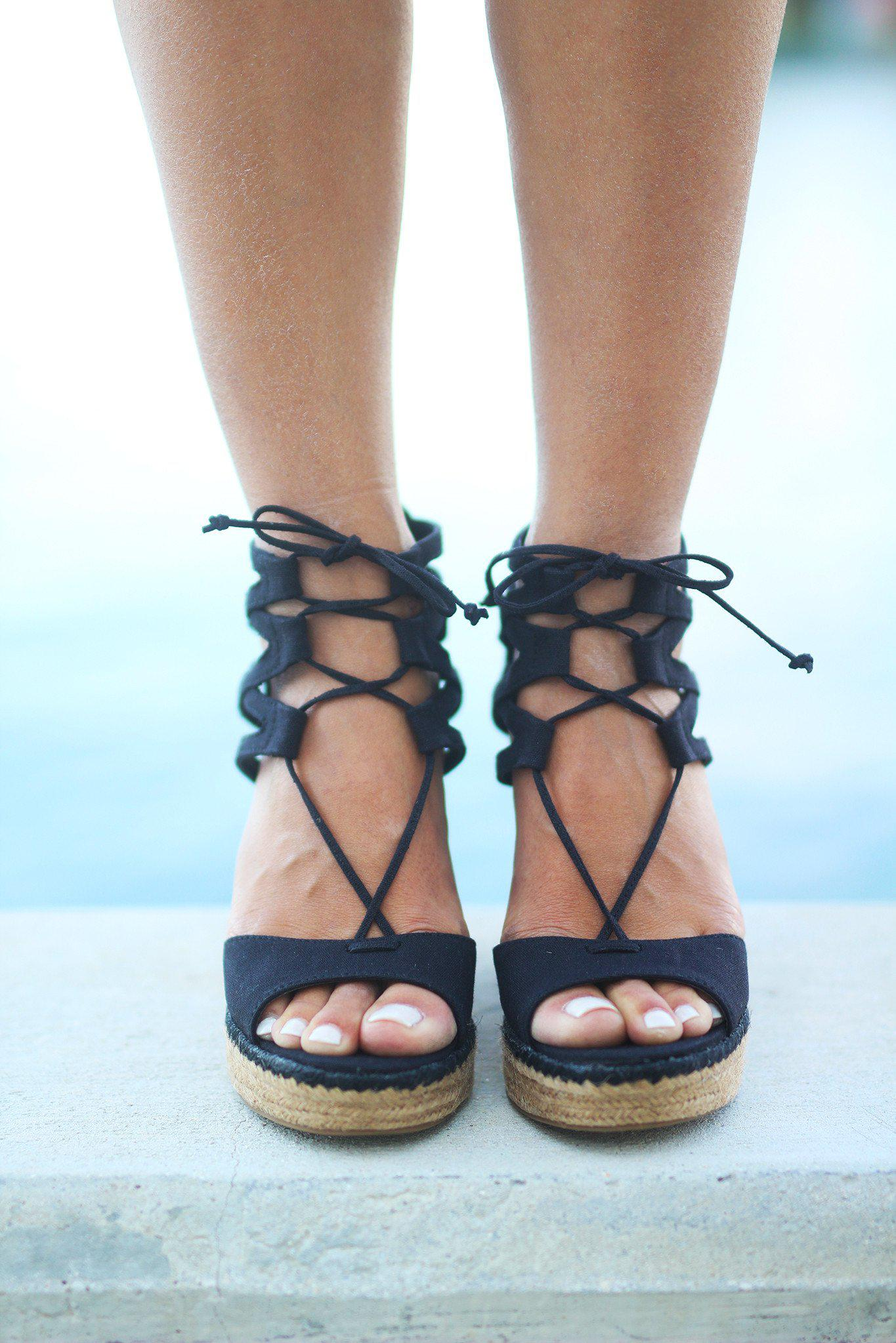 Black Strappy Wedges