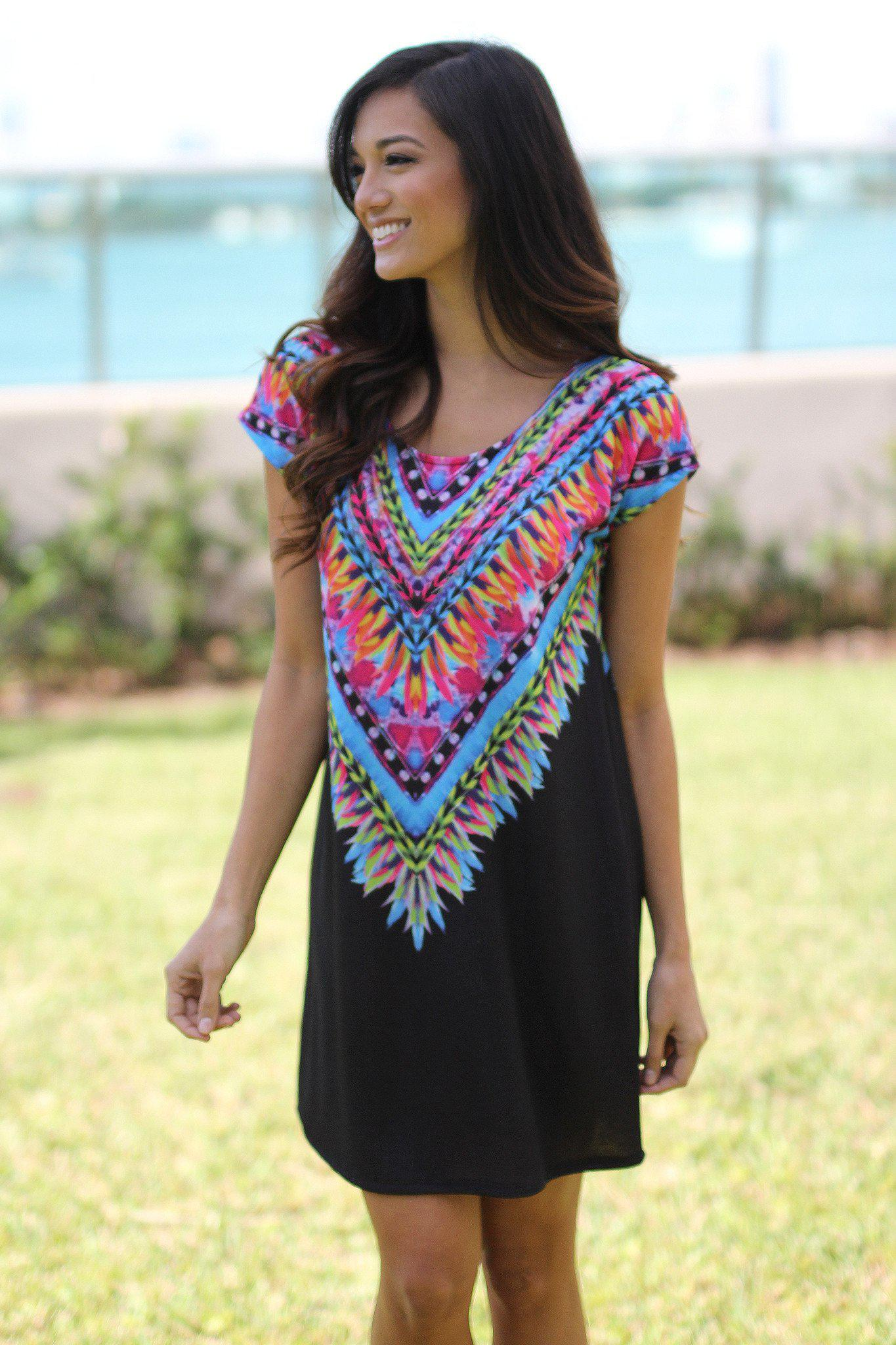Black Tribal Tunic Dress