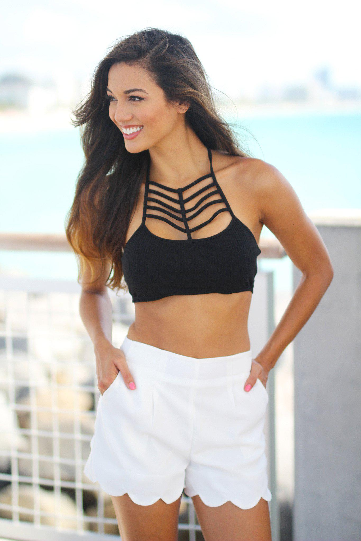 Black Strappy Crop Top