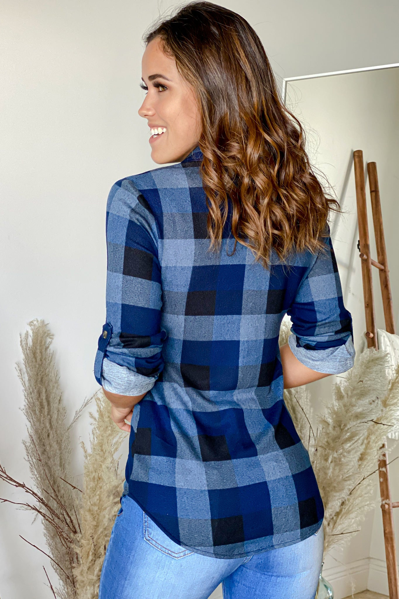 blue and black plaid top