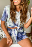 blue and gray tie dye top and shorts set