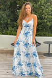 blue and white floral maxi dress with criss cross back