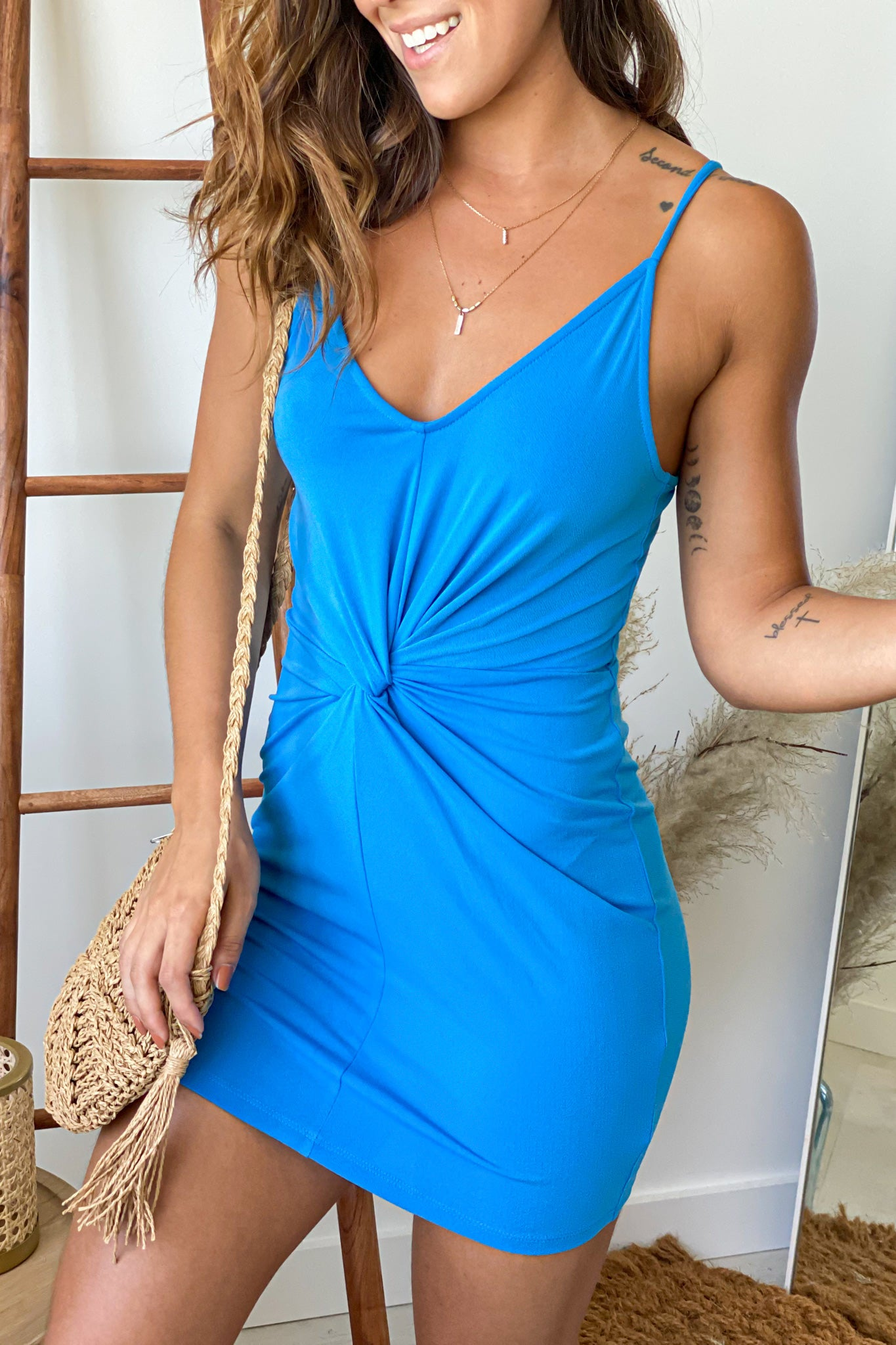blue bodycon short dress with front knot