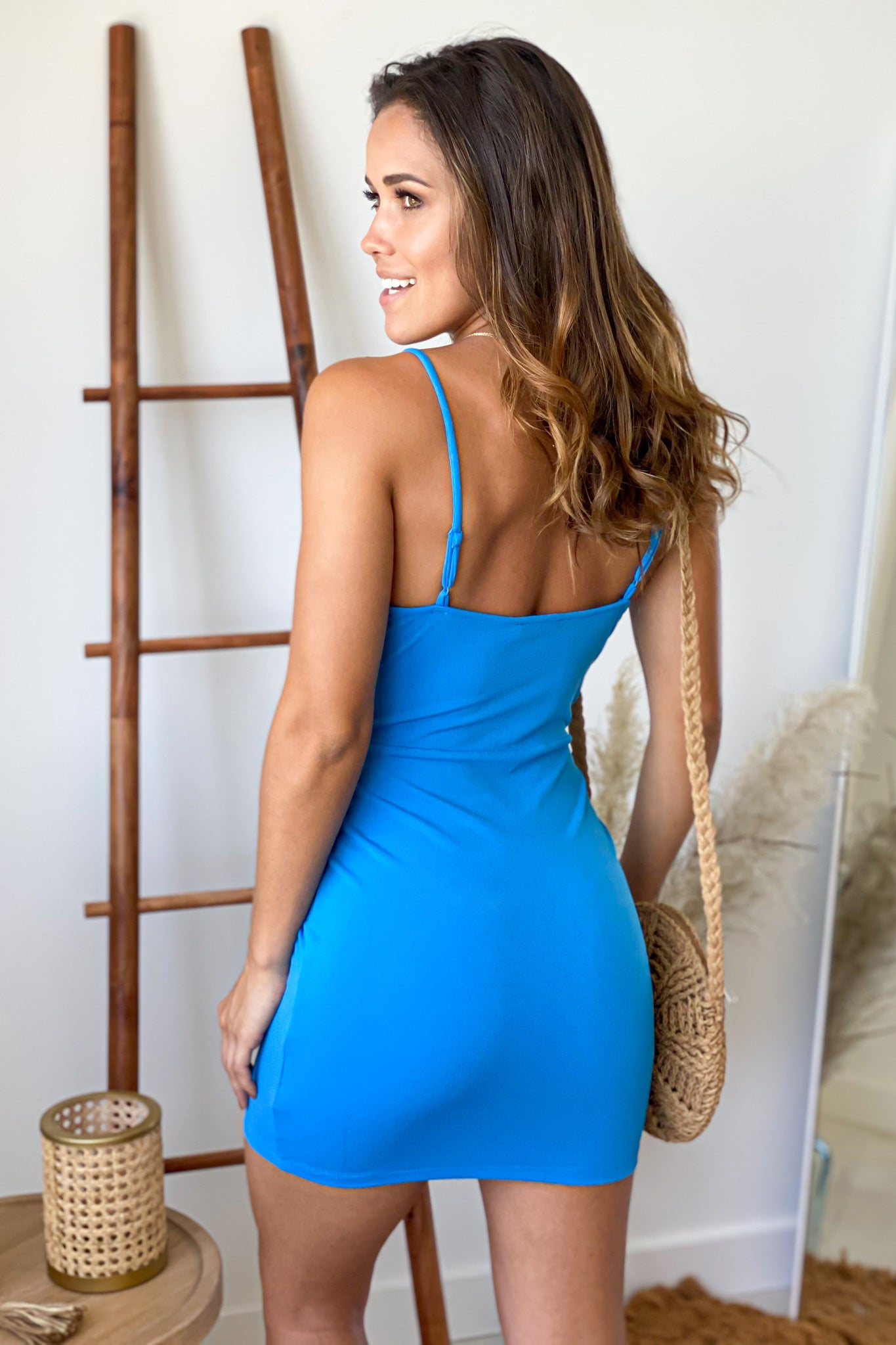 blue bodycon short dress
