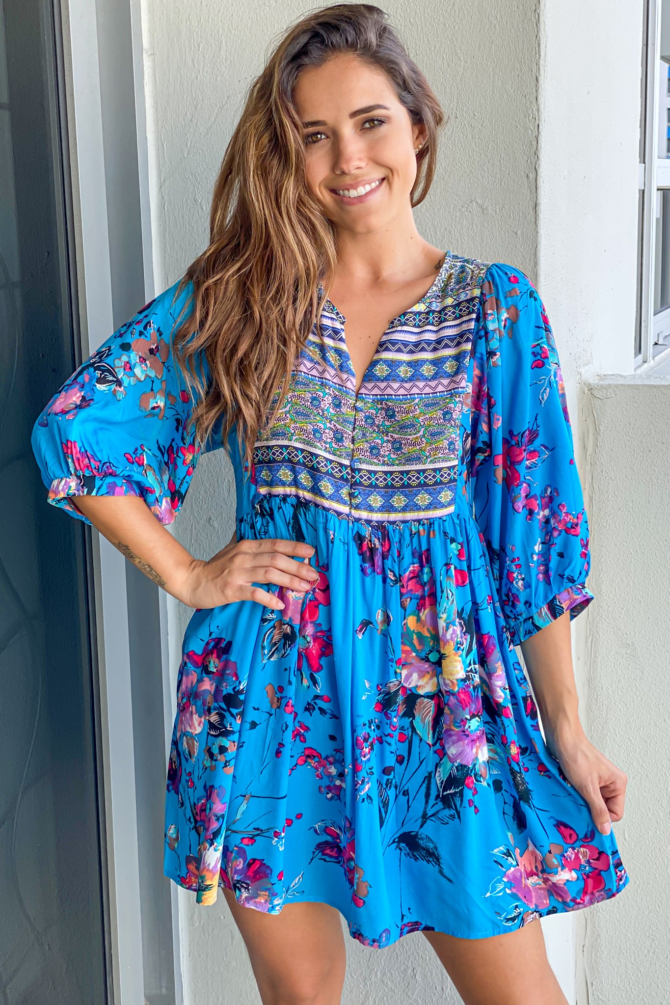 Blue Boho Floral Printed Short Dress