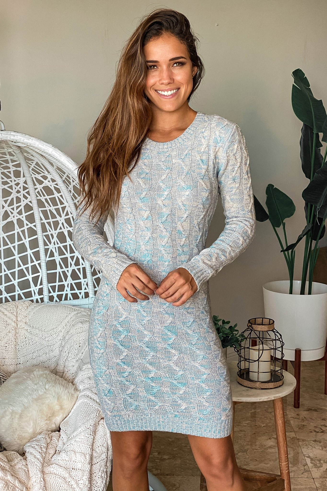 blue cable knit sweater short dress