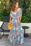 blue floral casual maxi