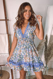blue floral vacation short dress