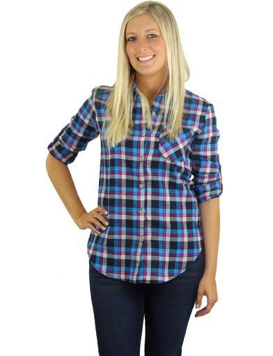 Blue plaid shirt - main image