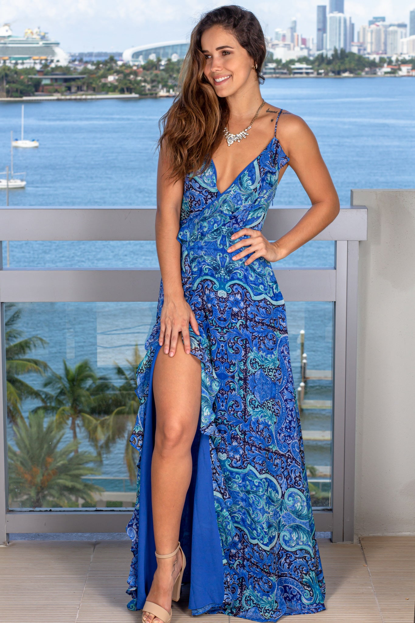 blue printed summer dress