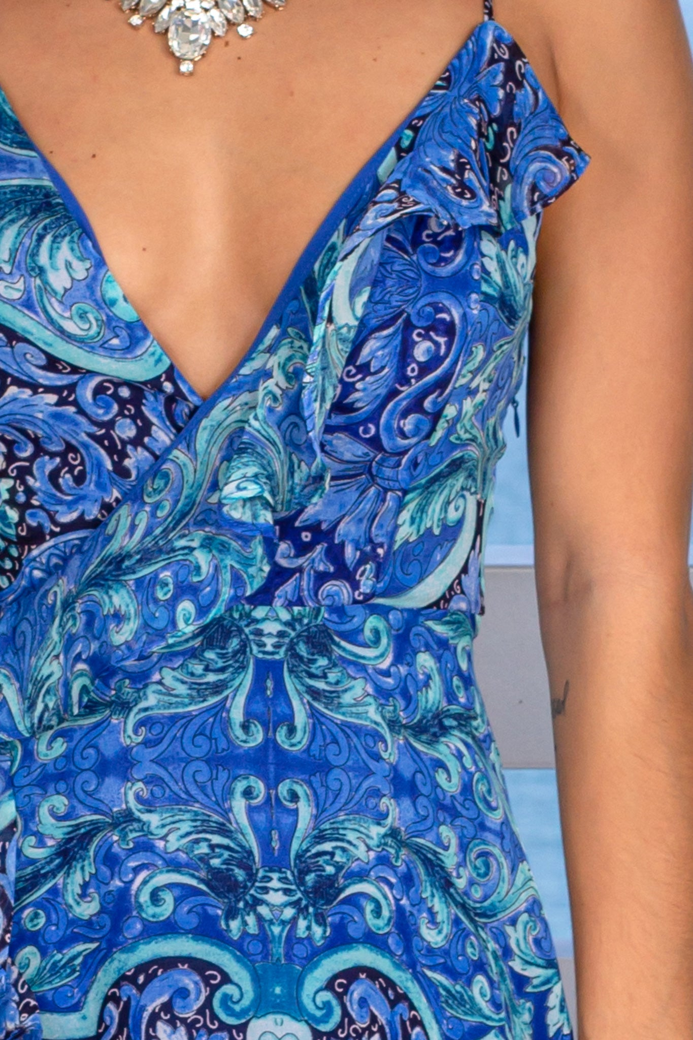 blue printed wedding guest dress