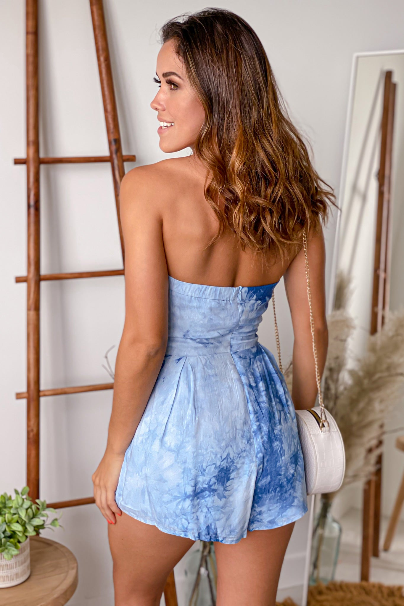 blue sleeveless romper