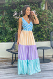 blue striped vacation maxi dress