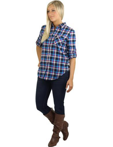 Blue trendy shirt - semi front view