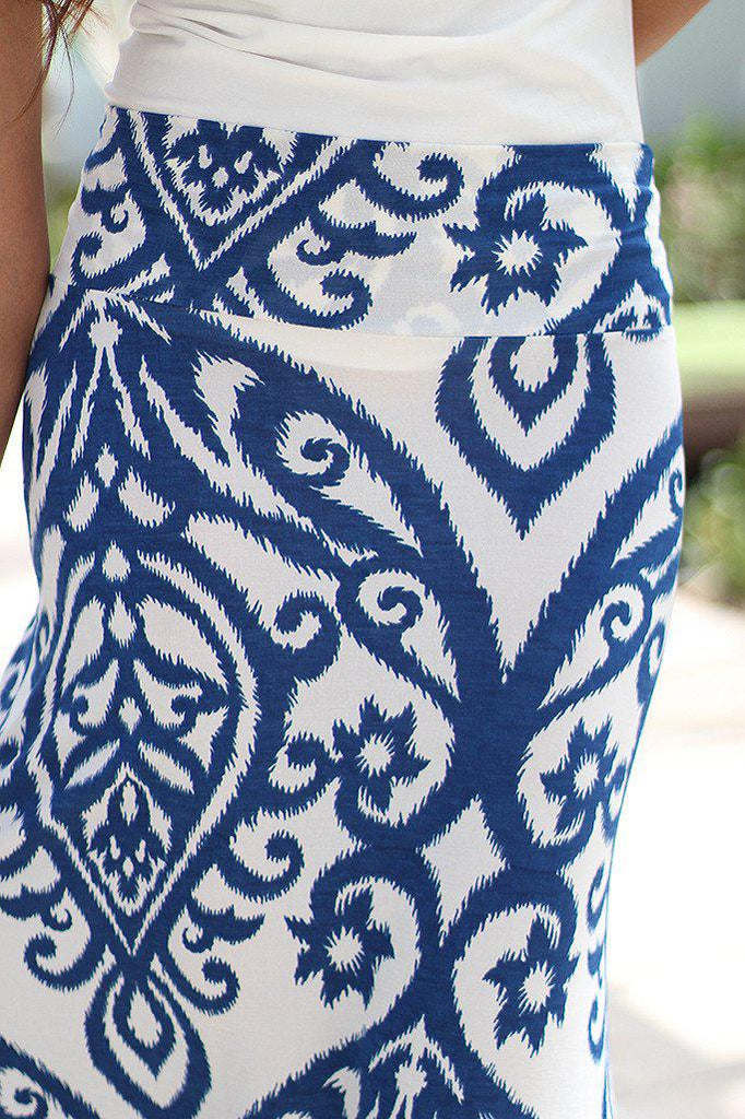 blue and ivory skirt
