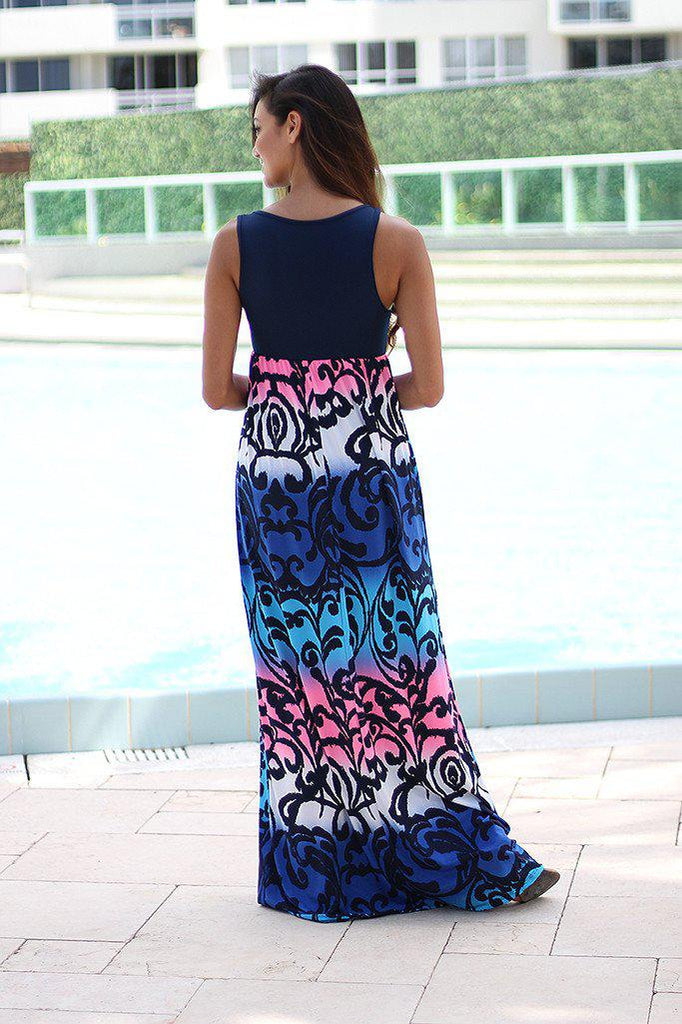 Blue and Pink Printed Maxi Dress