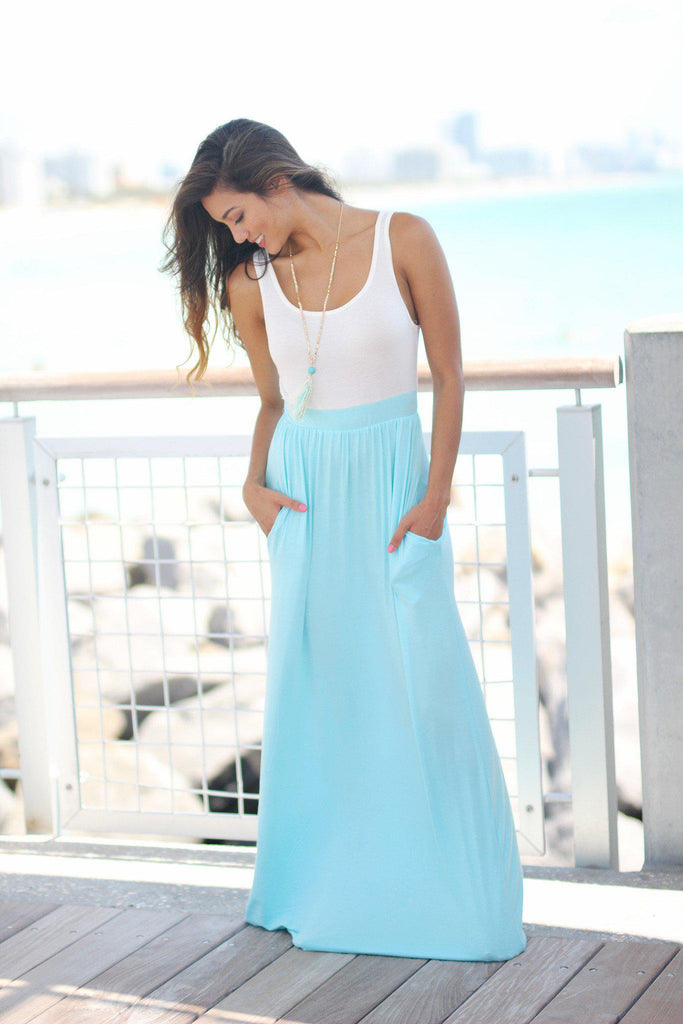 ivory and blue maxi dress