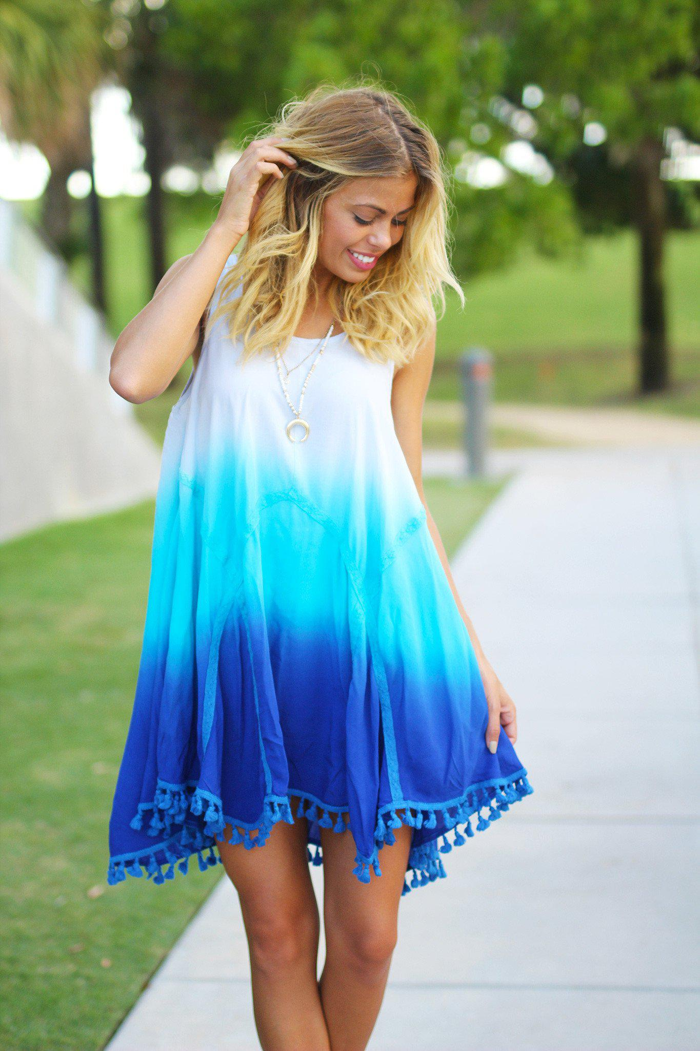 Blue Ombre Short Dress with Tassels   Ombre Loose Fit Short Dress ...