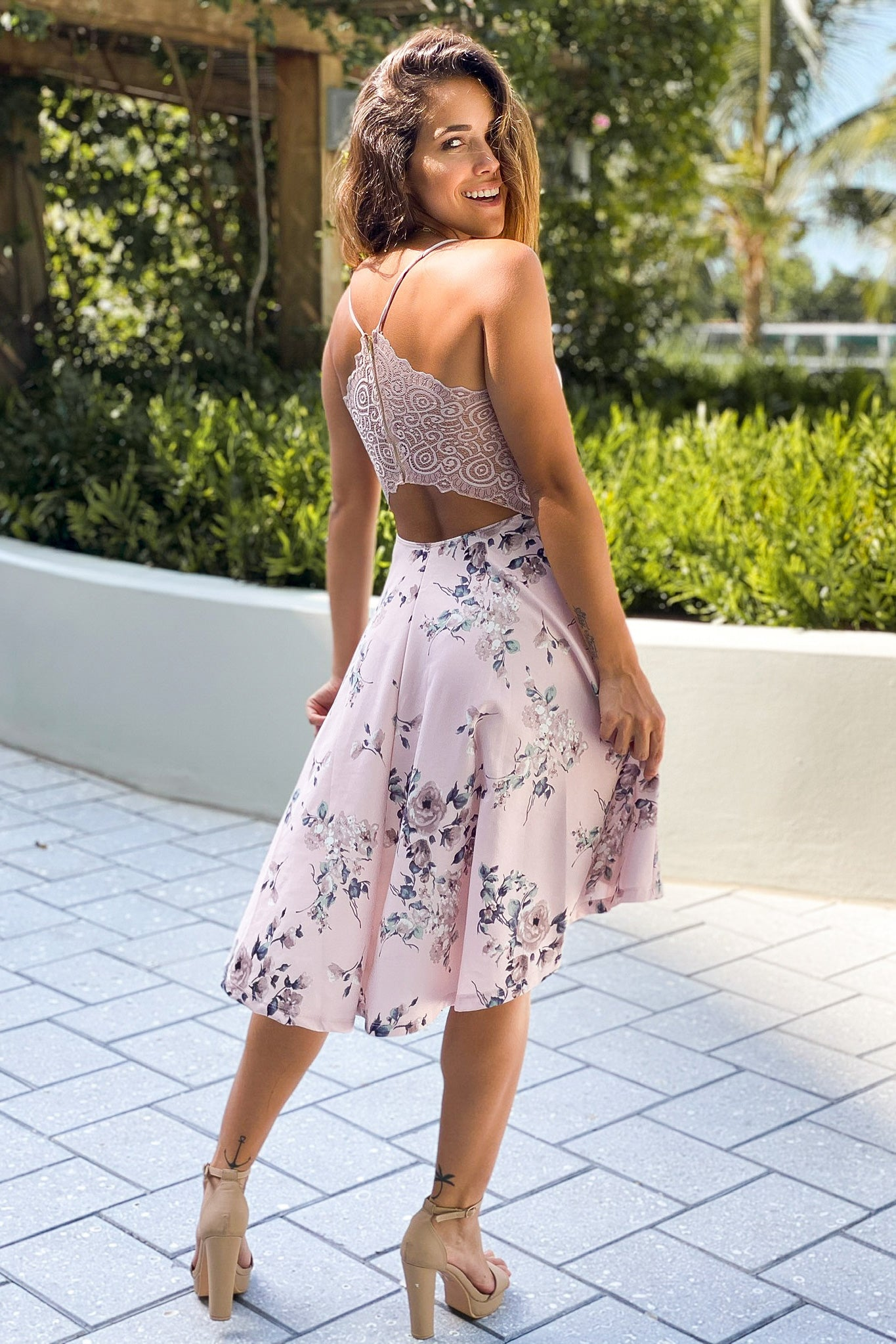 blush floral high low dress with lace back