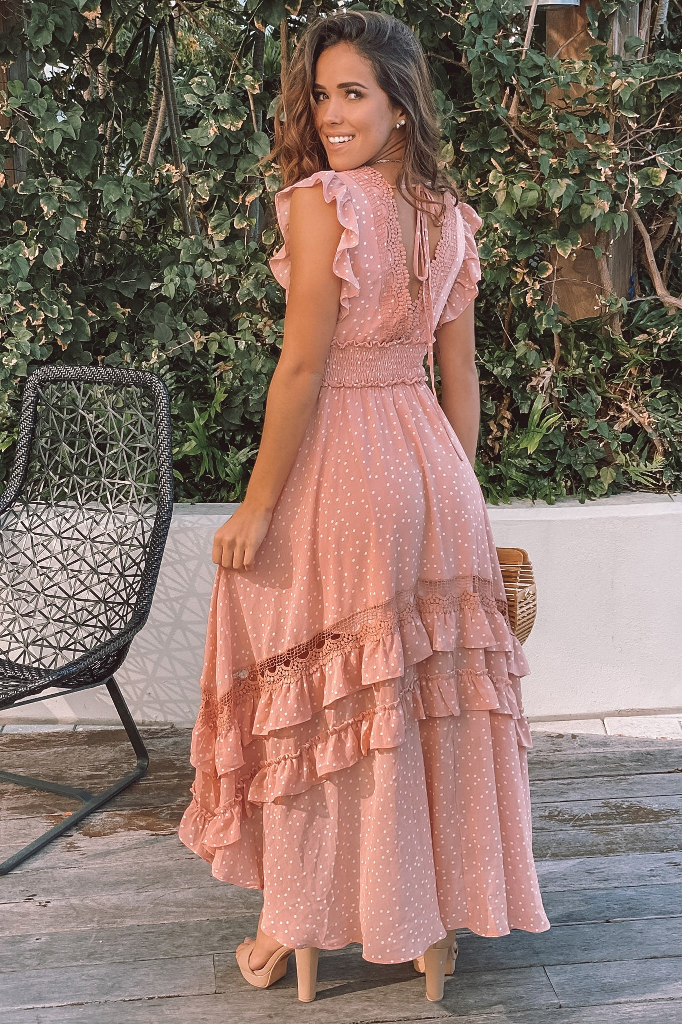 blush high low dress