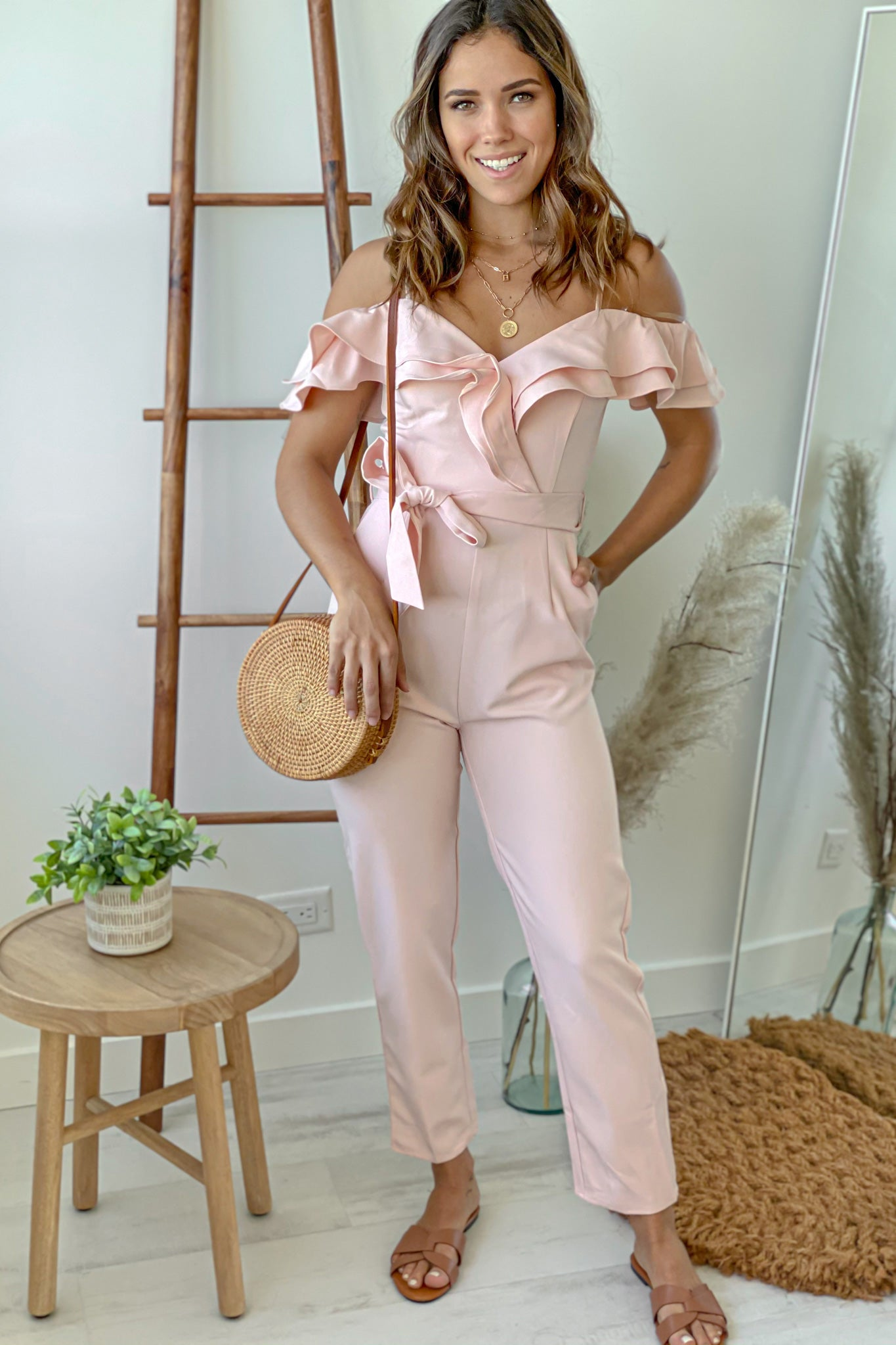 blush jumpsuit with ruffled top