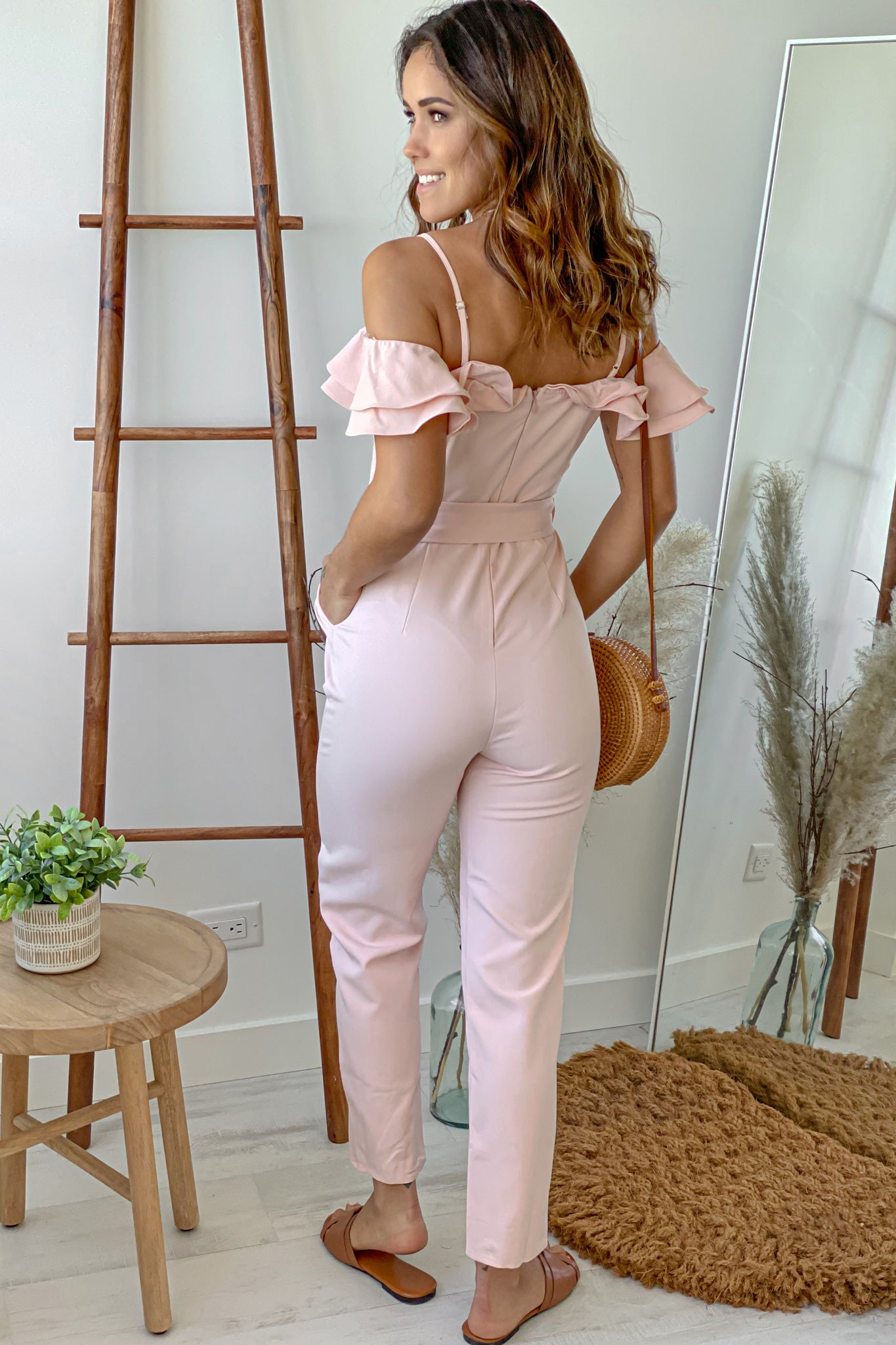 blush off shoulder jumpsuit