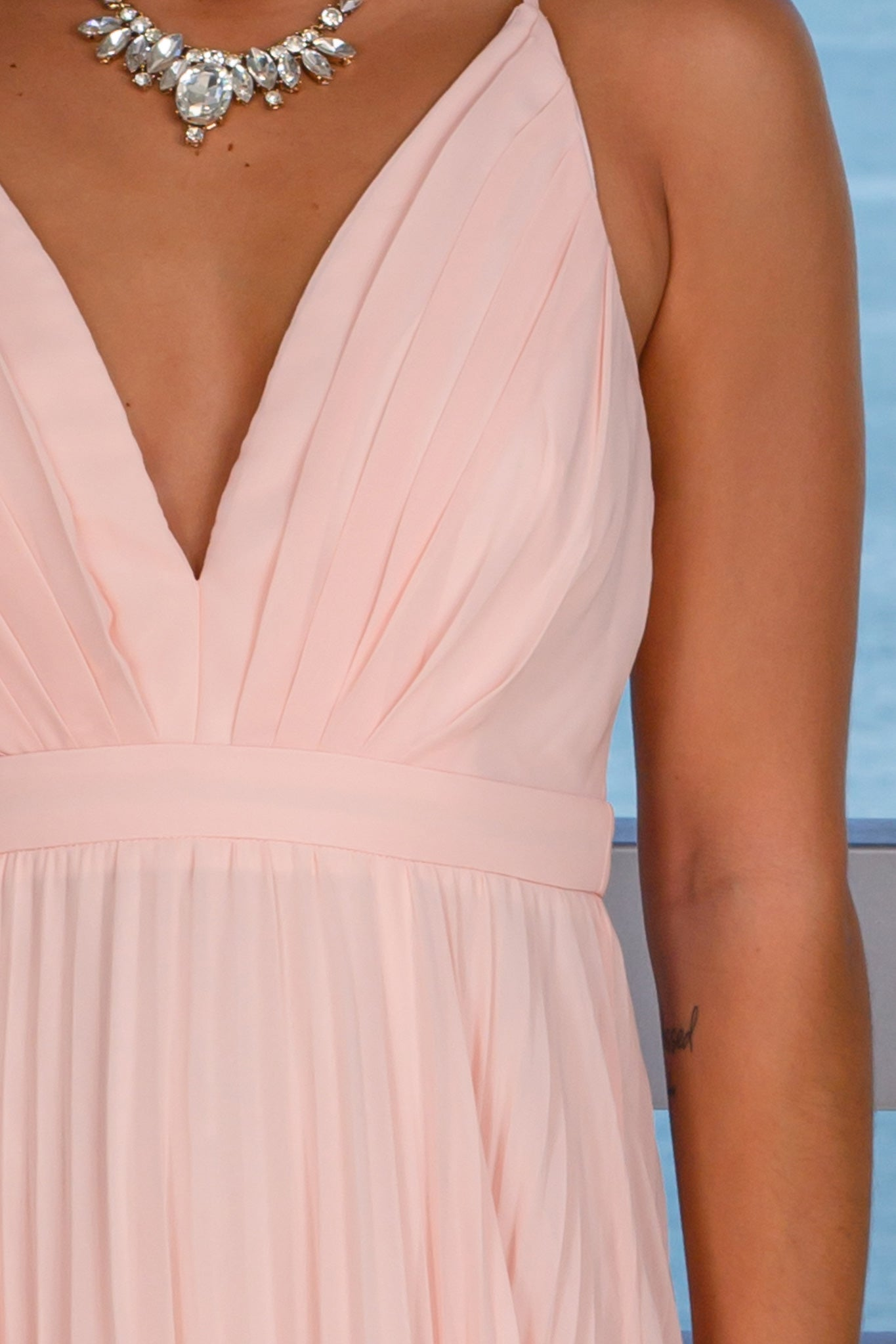 blush pleated graduation maxi dress