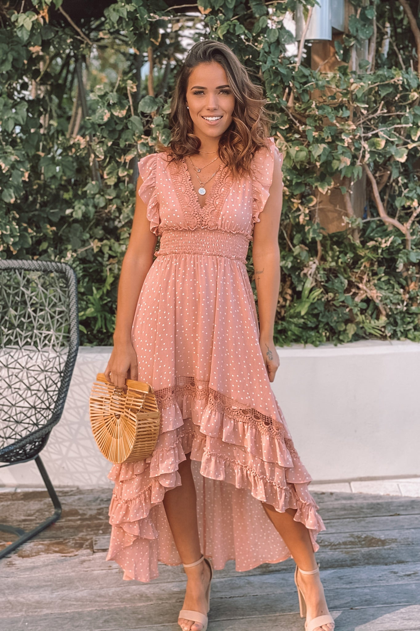 blush polka dot high low dress with ruffles