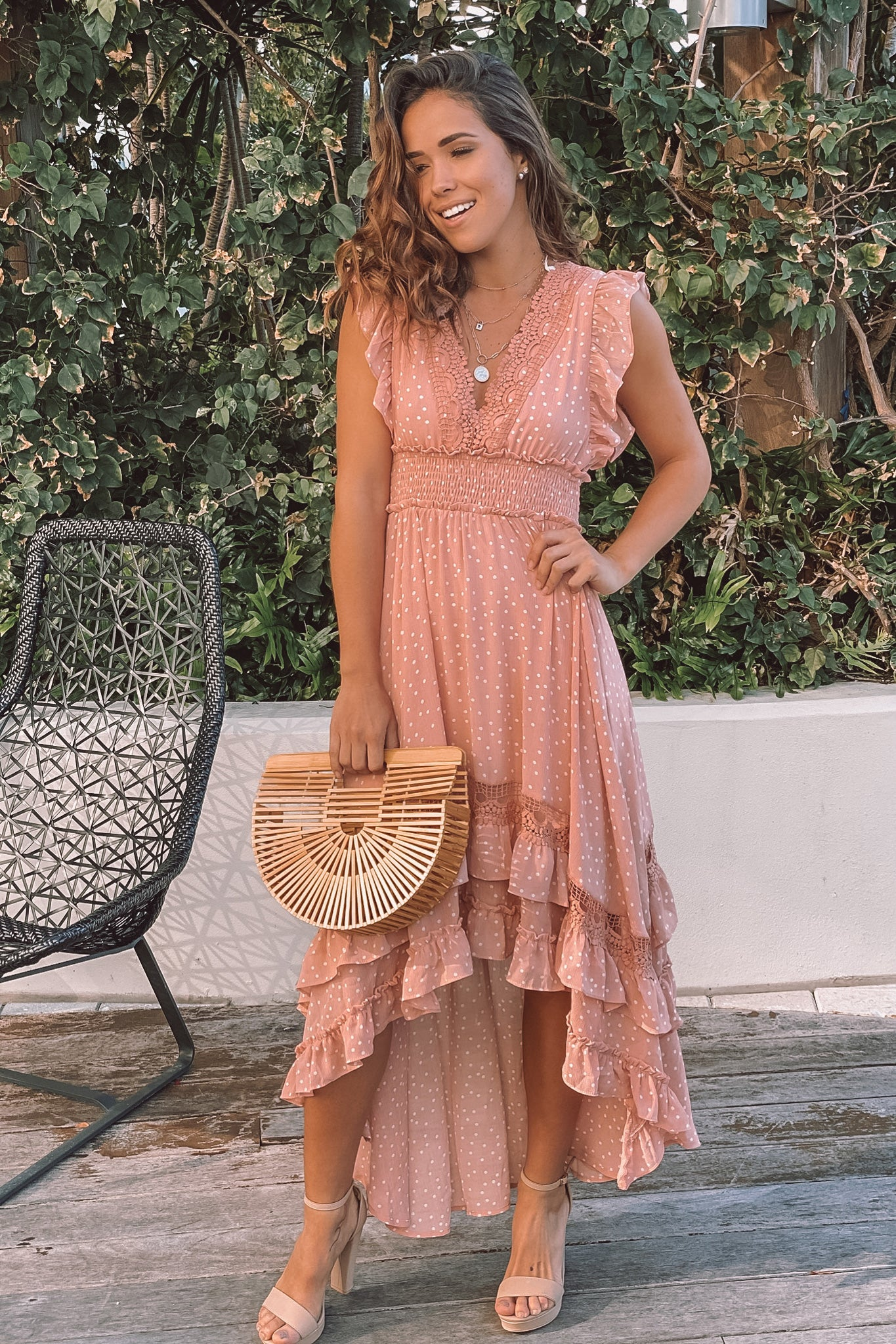 blush ruffled high low dress