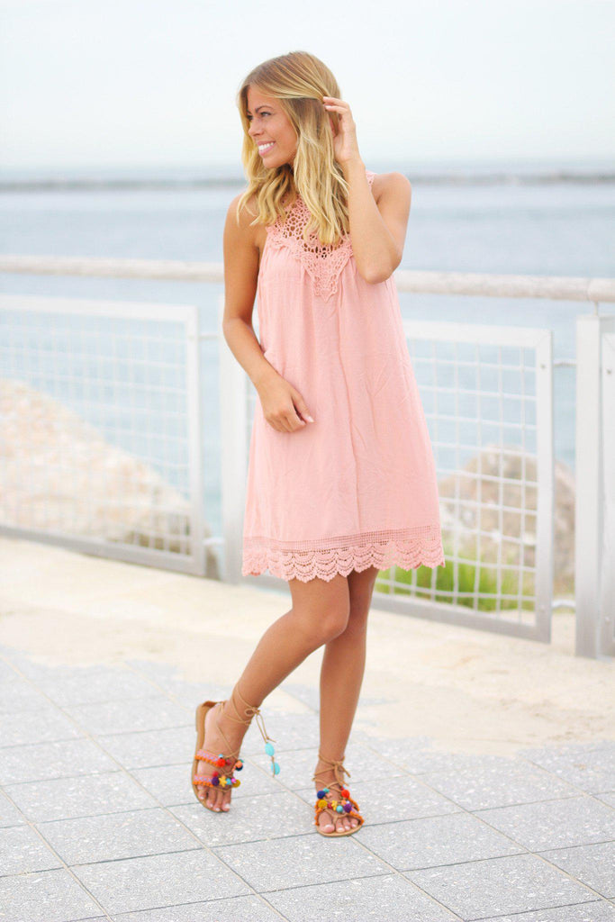 crochet blush short dress